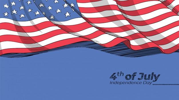 Hand getekend amerikaanse vlag achtergrond Premium Vector
