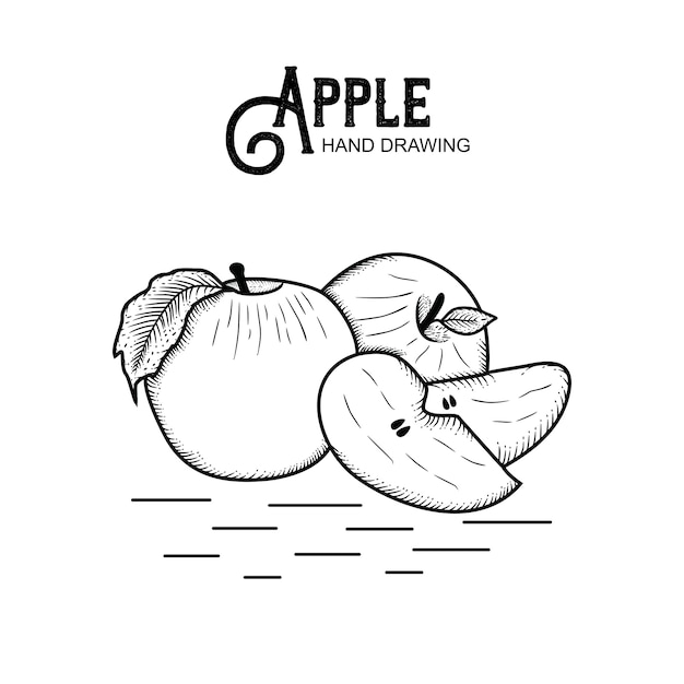 Hand getekend apple Premium Vector