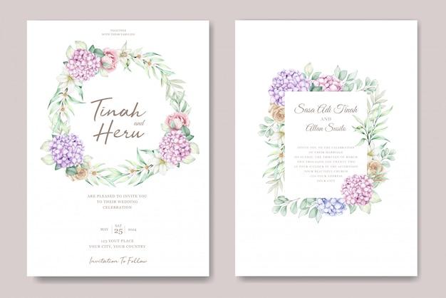 Hand getekend aquarel bloemen uitnodigingskaart Gratis Vector