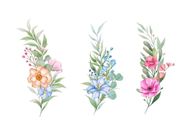 Hand getekend aquarel botanische bloemboeket set Premium Vector