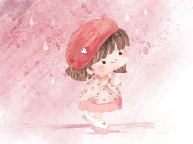 Hand getekend aquarel schattig meisje in winterthema. vector illustratie Premium Vector