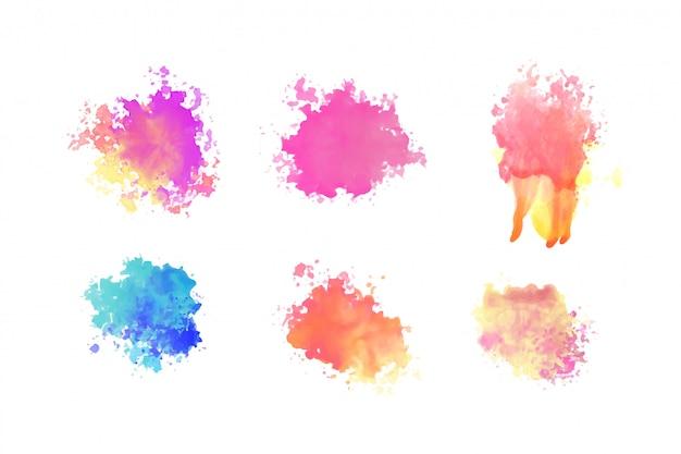 Hand getekend aquarel verf penseel splatter decorontwerp Gratis Vector