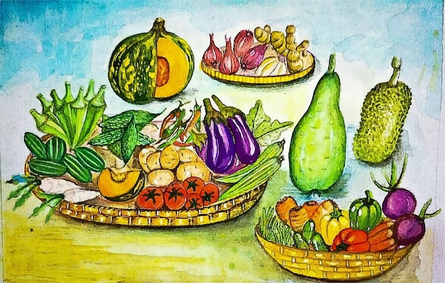 Hand getekend aquarel verschillende voedsel recept illustratie Premium Vector