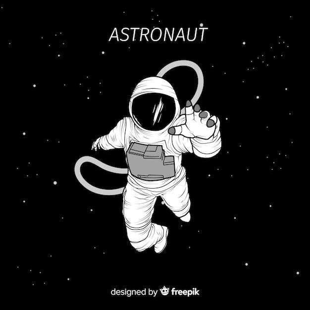 Hand getekend astronaut karakter in de ruimte Gratis Vector
