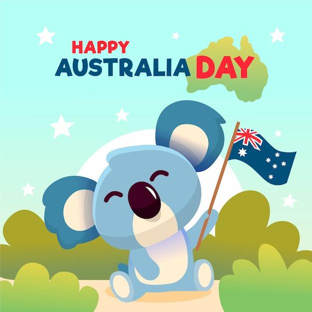 Hand getekend australië dag concept Gratis Vector