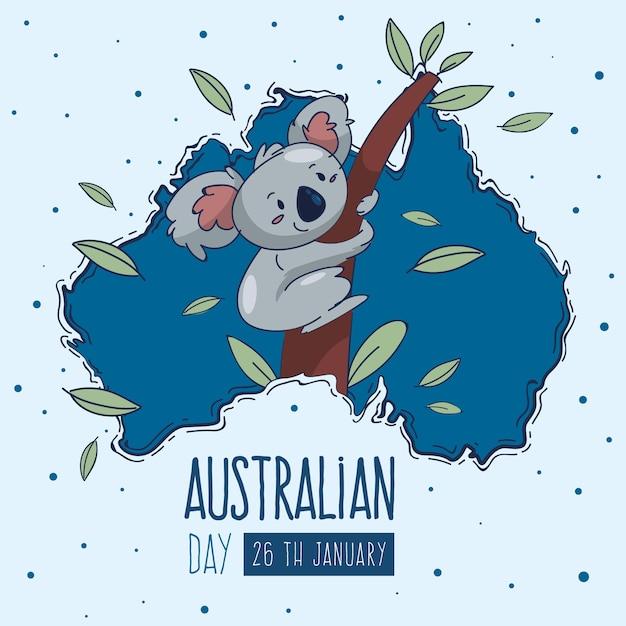 Hand getekend australië dag Gratis Vector