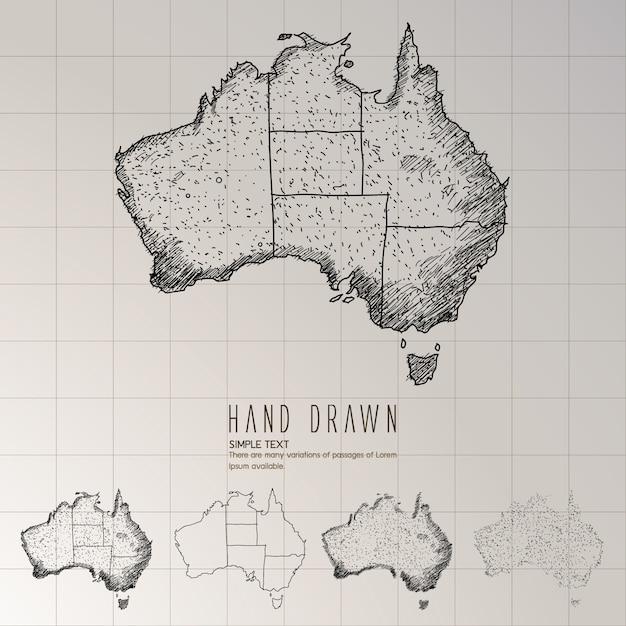 Hand getekend australië kaart. Premium Vector
