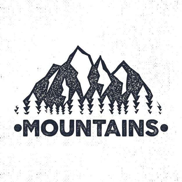 Hand getekend avontuur label. bergen en bosillustratie. Premium Vector