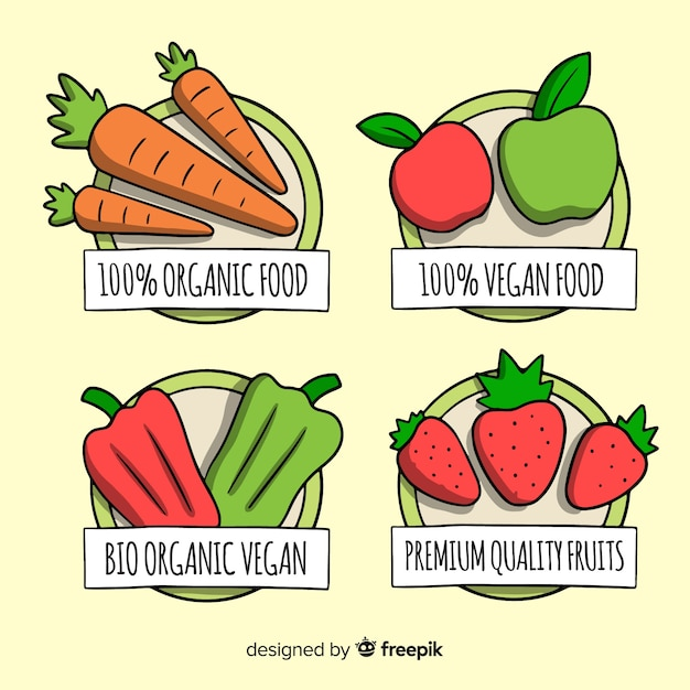 Hand getekend biologisch voedsel labels-collectie Gratis Vector