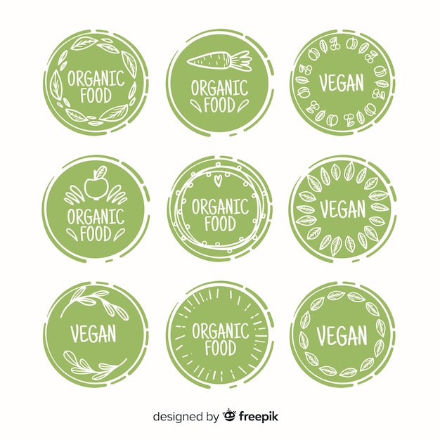 Hand getekend biologisch voedseletiket collectie Gratis Vector