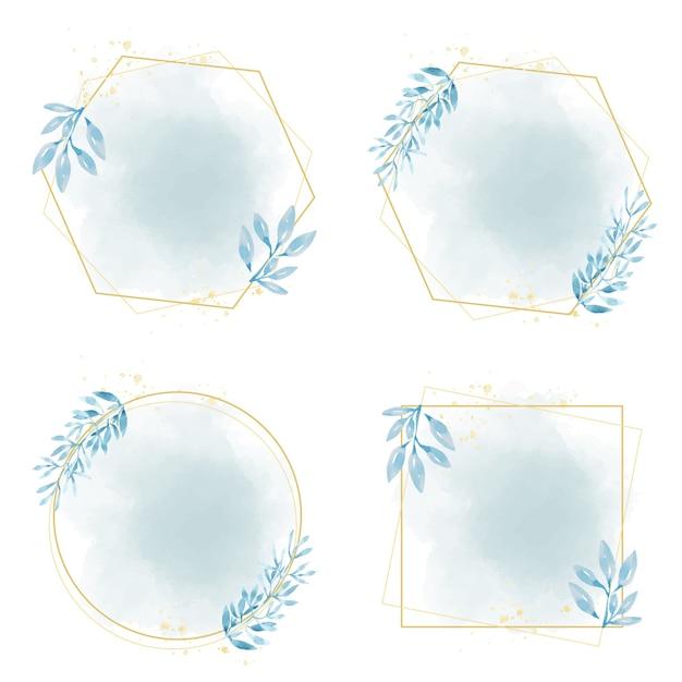Hand getekend blauw blad frame op aquarel blauwe splash Premium Vector