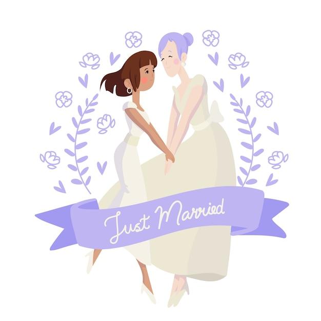 Hand getekend bloemen bruidsparen Gratis Vector