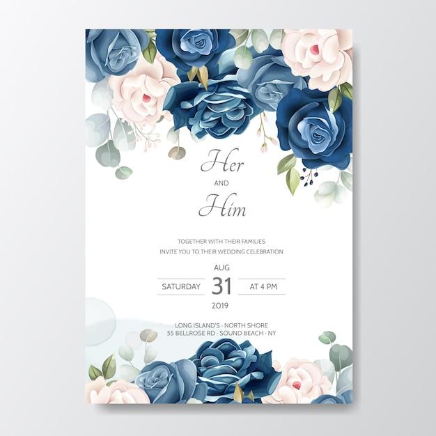 Hand getekend bloemen bruiloft uitnodigingskaart Premium Vector