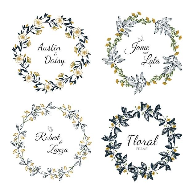 Hand getekend bloemen krans collectie voor bruiloft Premium Vector
