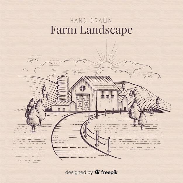 Hand getekend boerderijlandschap Gratis Vector