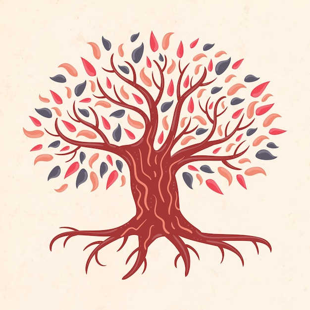 Hand getekend boom leven illustratie Gratis Vector