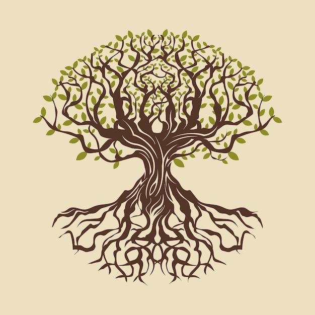 Hand getekend boom leven illustratie Premium Vector