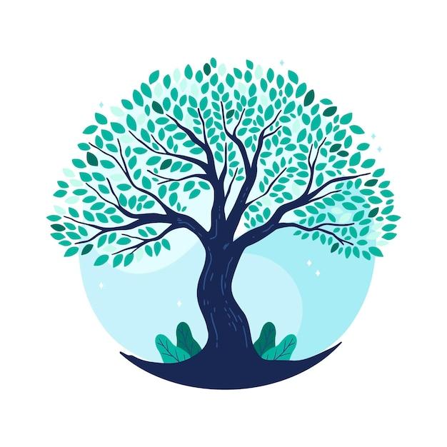 Hand getekend boomleven in blauwe tinten Premium Vector