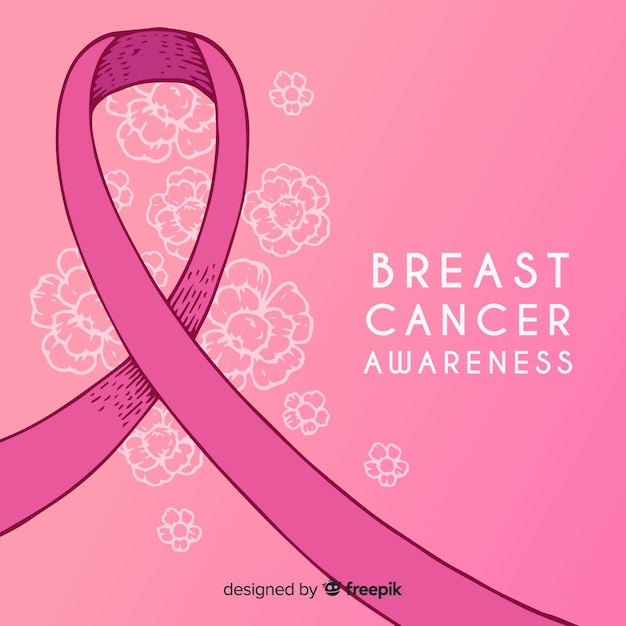 Hand getekend borst kanker bewustzijn met lint Gratis Vector
