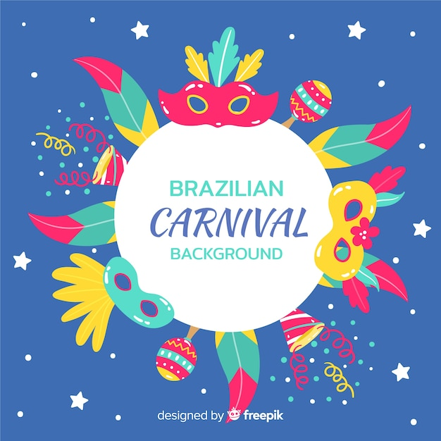 Hand getekend braziliaanse carnaval achtergrond Gratis Vector