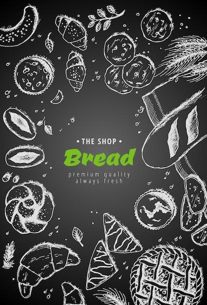 Hand getekend brood met tarwe, meel op donker Premium Vector