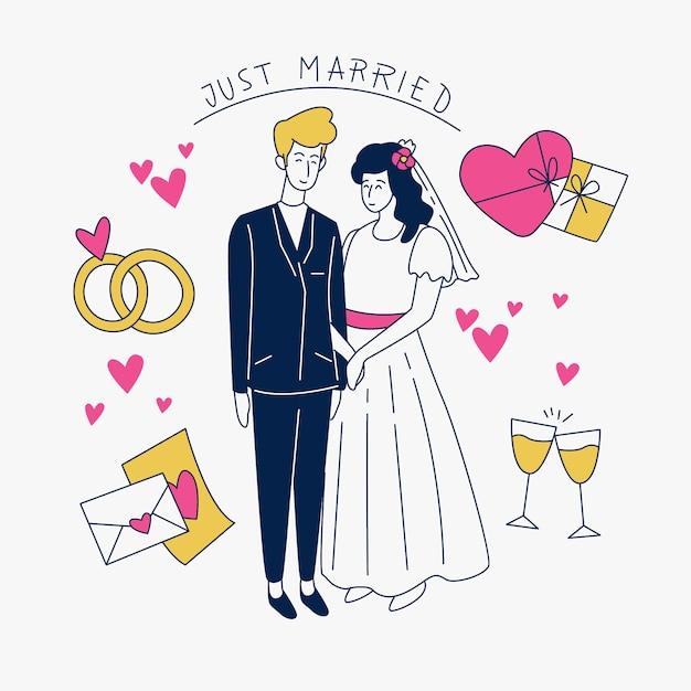 Hand getekend bruidsparen met net getrouwd teken Gratis Vector