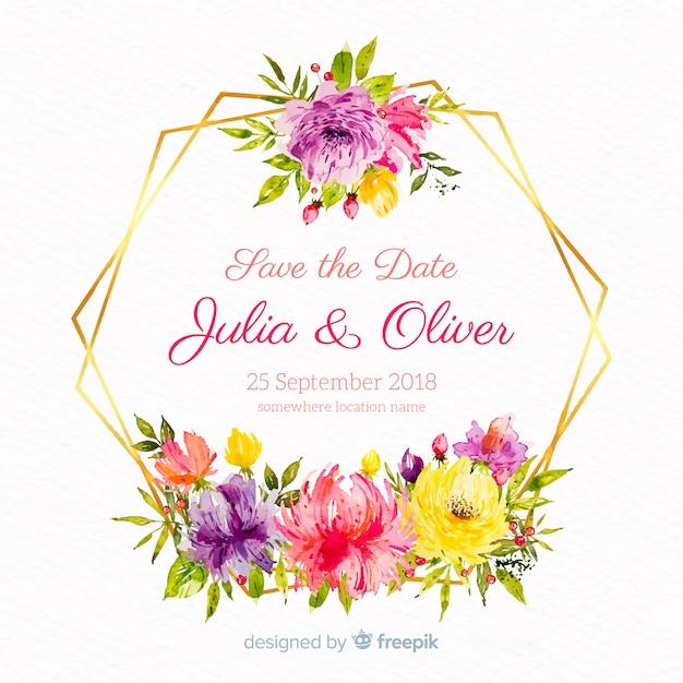 Hand getekend bruiloft bloemen achtergrond Gratis Vector