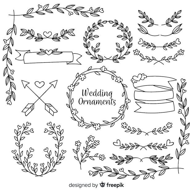 Hand getekend bruiloft sieraad collectie Gratis Vector