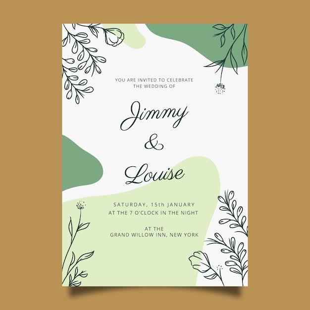 Hand getekend bruiloft uitnodiging sjabloon in florale stijl Gratis Vector