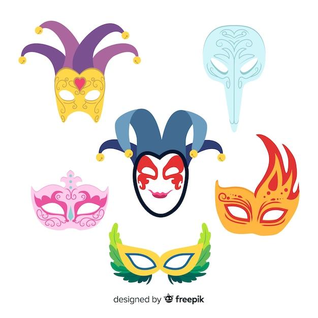 Hand getekend carnaval masker collectie Gratis Vector