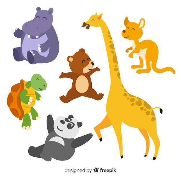 Hand getekend cartoon dierenverzameling Gratis Vector