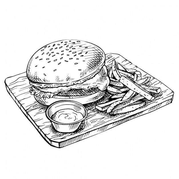Hand getekend cheeseburger op hout. schets grote humburger met koteletten, kaas, tomaten, sla. amerikaans eten. Premium Vector