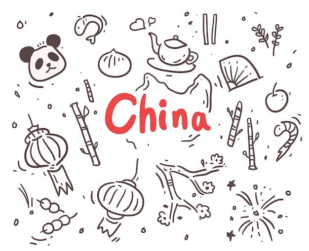 Hand getekend china Premium Vector