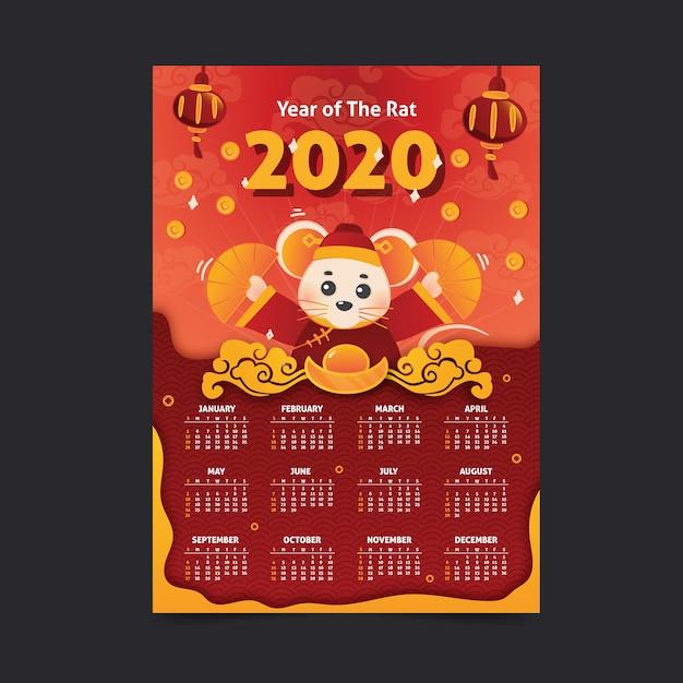 Hand getekend chinees nieuwjaar kalender Gratis Vector