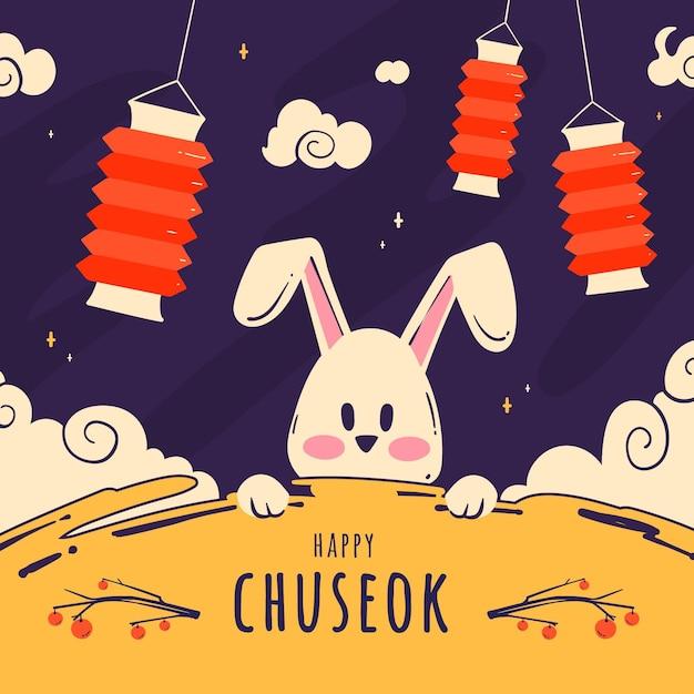 Hand getekend chuseok concept Gratis Vector
