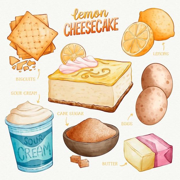 Hand getekend citroen cheesecake recept Gratis Vector