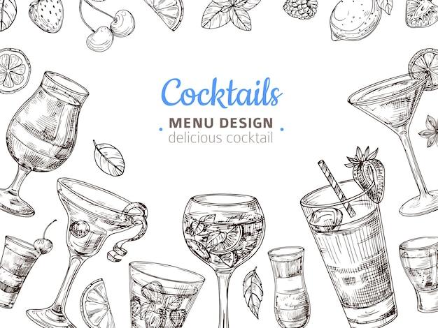 Hand getekend cocktail achtergrond Premium Vector