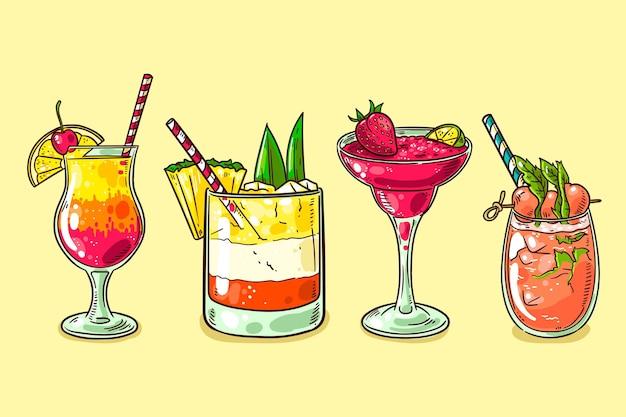 Hand getekend cocktail collectie Gratis Vector