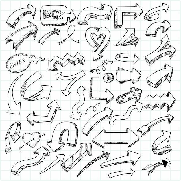 Hand getekend creatief geometrisch pijl decorontwerp Gratis Vector