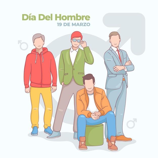 Hand getekend dia del hombre illustratie Gratis Vector
