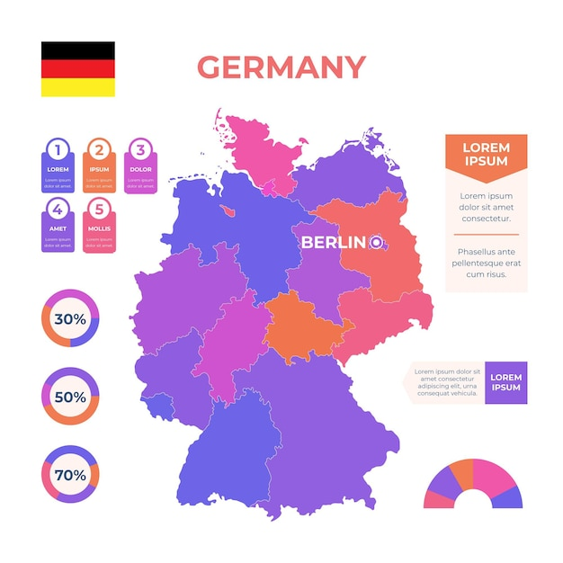 Hand getekend duitsland kaart infographic Premium Vector