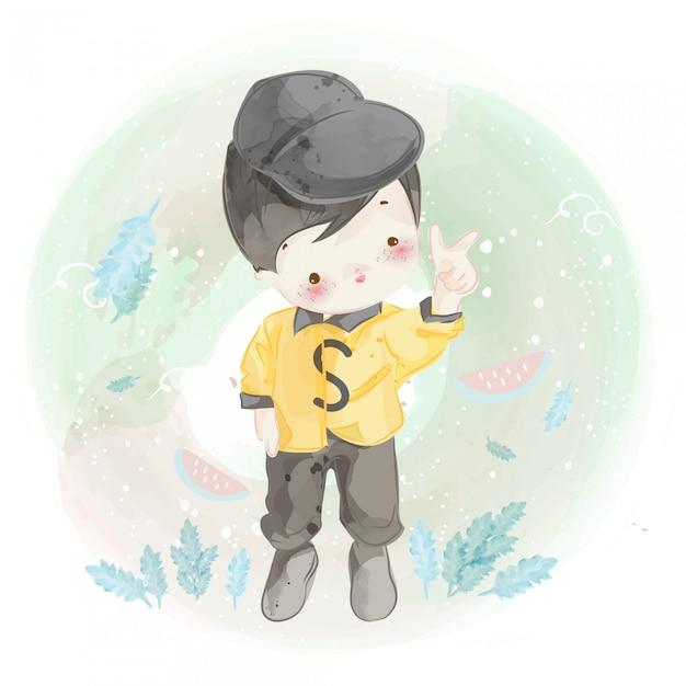 Hand getekend een kleine jongen. Premium Vector