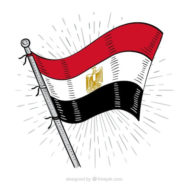 getekend egyptische vlag samenstelling gratis vector