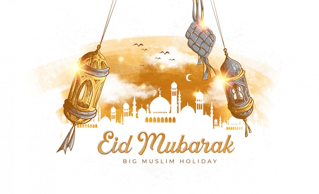 Hand getekend eid mubarak illustratie Gratis Vector