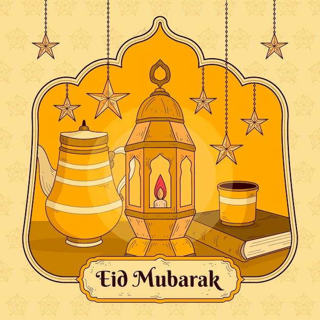 Hand getekend eid mubarak met lantaarn en sterren Gratis Vector