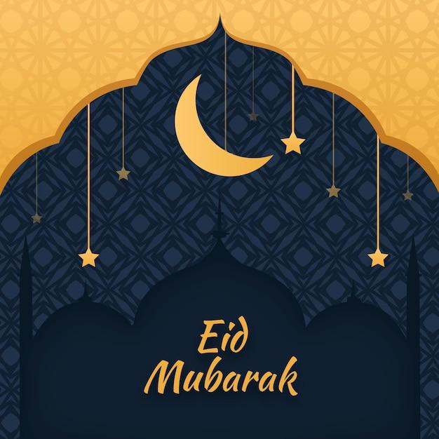 Hand getekend eid mubarak met maan en sterren Gratis Vector