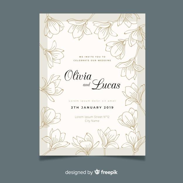 Hand getekend elegante bruiloft uitnodiging sjabloon Gratis Vector
