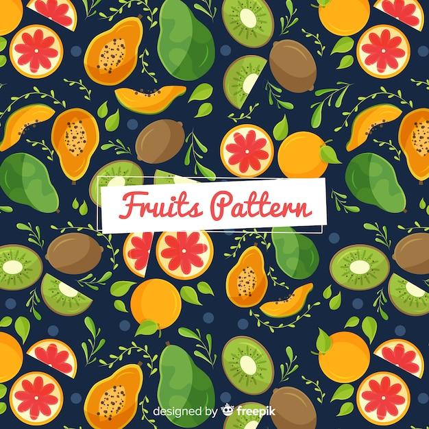 Hand getekend exotisch fruit patroon Gratis Vector