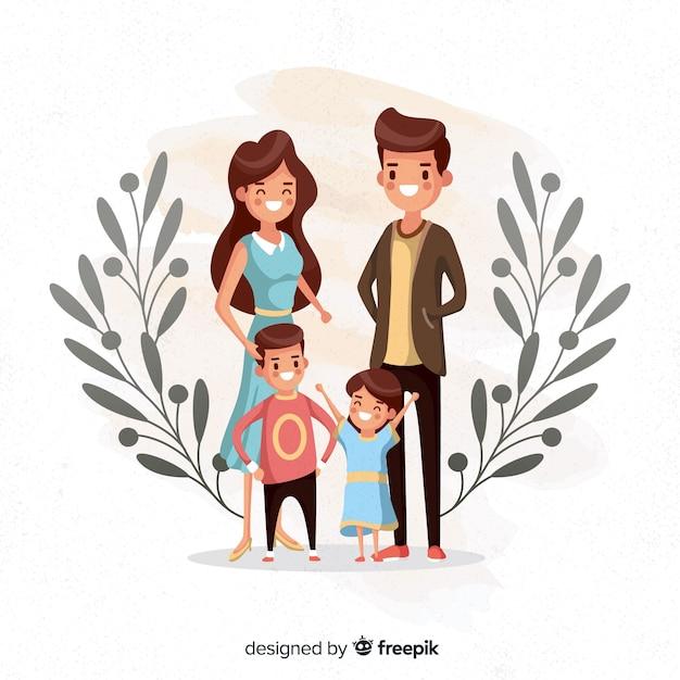 Hand getekend familieportret Premium Vector