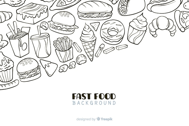 Hand getekend fastfood achtergrond Gratis Vector